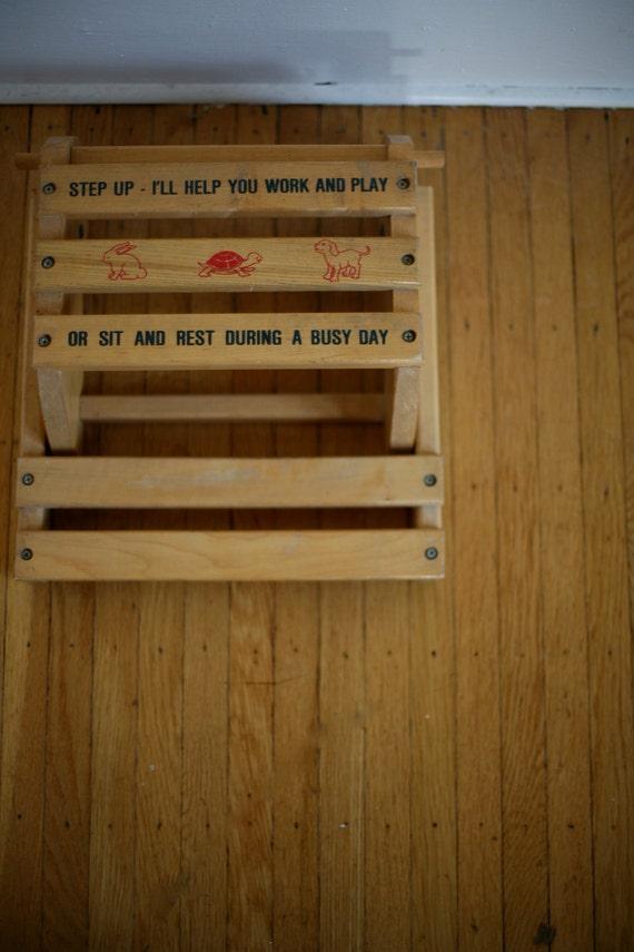 Vintage Wooden Children S Chair Step Up Stool