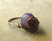 CUSTOM SIZE Purple Agate Wire Wrapped Spiral Ring