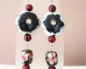Black  Flower Earrings, Cloisonne Flowers