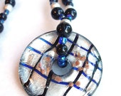 Circle Necklace, Lampwork Glass Donut