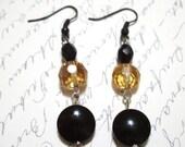 Black Earrings, Glass Earrings, Art Deco Style