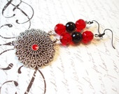 Red Earrings, Silver Medallions