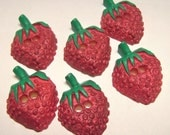 6 Giant Vintage Plastic Strawberry Buttons