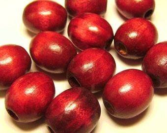 12 Large Cherry Wood Barrel Beads - Cranberry