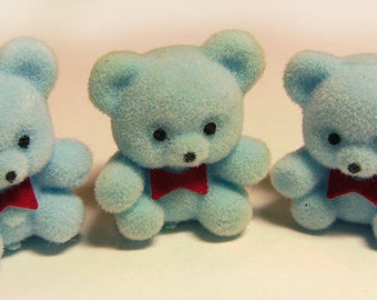 ONE Vintage Baby Blue Flocked Bear Miniatures