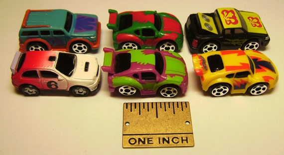 6 Miniature Toy Cars for Collages or Scrapbooking Jewelry