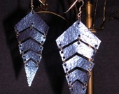 Metallic Blue leather Chevron Earrings