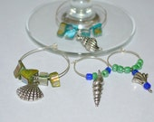 Shell Wine Charm, set of 4 wine charms, silver wine charms, beach wine charms -Free Shipping