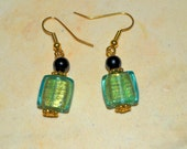 GREEN and Gold  earrings, simple dangle earrings, FREE SHIPPING