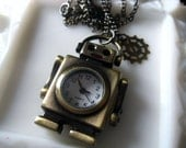Robotic Steampunk Geekery Watch Necklace.