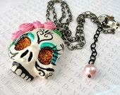 Folklorico Mexican Dia De Los Muertos Clay Sugar Skull Shimmer Skull Necklace Original Art Pendant Necklace