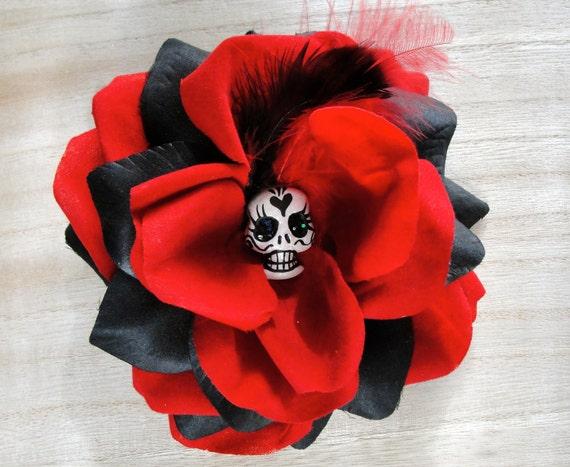 SALE Red Black Dramatic Romantic Day of The Dead Clay Sugar Skull Feather Dia De Los Muertos Hair Rose Mexican Rockabilly Art
