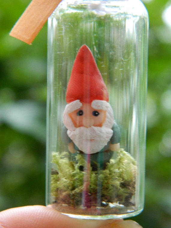 Mini Garden Gnome in a Glass Corked Jar 1.5 inches
