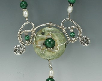 Agate, Malachite, Aventurine Bead Necklace with Sterling Silver Wire