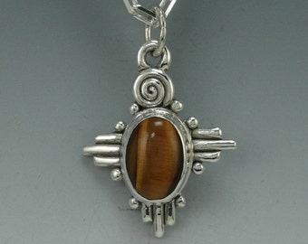 P529- Unique Sterling Silver Tiger Eye Pendant- Handmade One of a Kind