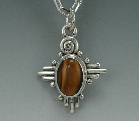 Unique Sterling Silver Tiger Eye Pendant- Handmade One of a Kind