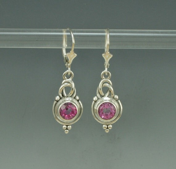 Sterling Silver Earrings with Blush Topaz- Handmade One of a Kind