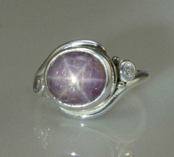 Sterling Silver Star Ruby and Moissanite- One of a Kind