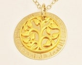 Personalized MOTHER'S DAY 14k Gold Tree of Life Story Necklace . hand stamped charms Monogrammed Pendant Free Shipping