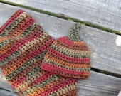 Newborn Hand-Crocheted Knit Like Baby Cocoon and Pixie/Elf Hat or Beanie Set in Deep, Rich Fall Colors