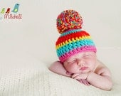Newborn Baby Girl Hand-Crocheted Candy Colors/Lollipop Pom Pom Hat in Pink, Orange, Aqua, and Yellow