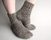 Warm Hand Knitted Socks - 100% Natural Hand Spun Wool Yarn - Brownish Gray