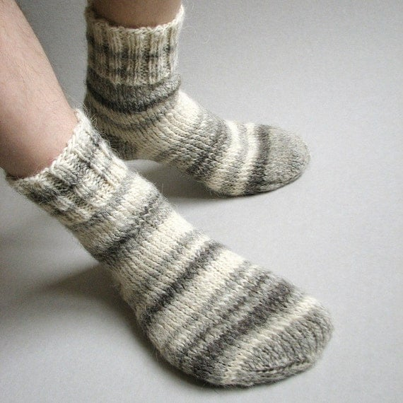 Very Warm Hand Knitted Wool Socks - Asymmetrical, Striped -100% Natural, Organic