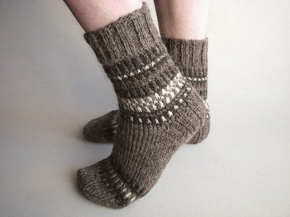 Patterned Hand Knit Woolen Socks - Autumn Winter Comfort - 100% Natural, Organic Wool