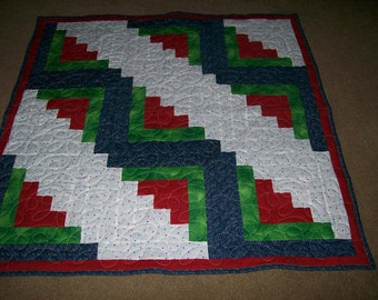 Log Cabin Baby Quilt or Lap Quilt