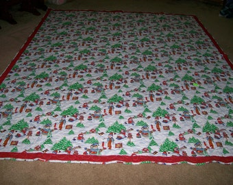 Queen Size Red and Green Snowman Quilt