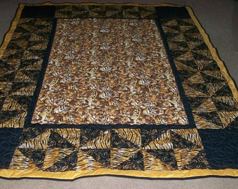 Tiger  Print Black and Gold Twin Size  Quilt