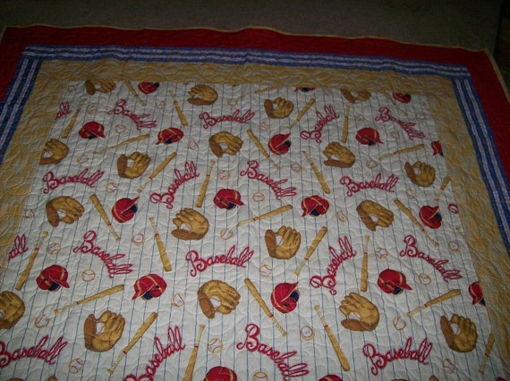 Special Listing for Denise-Long Twin Size Baseball Quilt