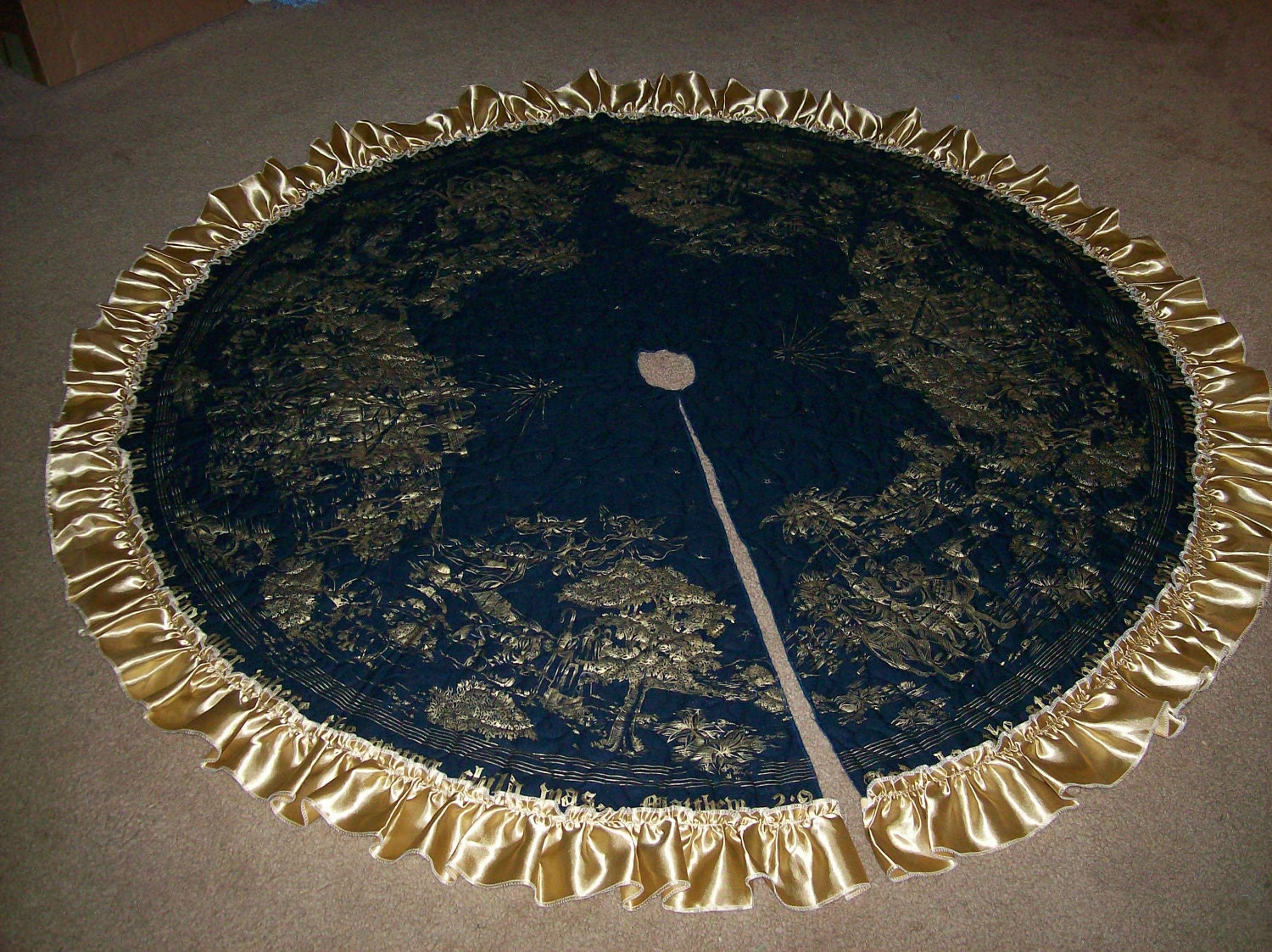 Navy blue and gold christmas tree skirt with ruffle