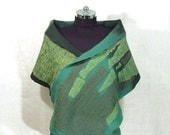 Felted green Shawl Scarf for women  woolen Scarf