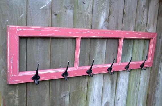 CLEARANCE SALE ITEM Coat Rack Vintage Wood Window In Distressed Pink