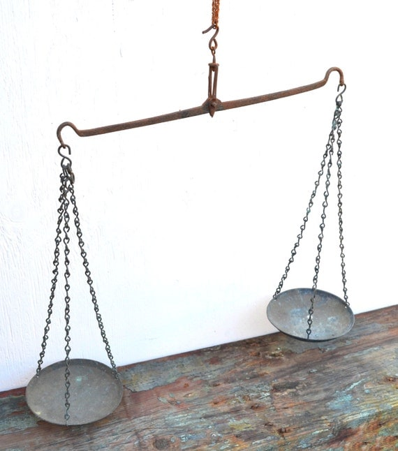 Hanging Scale Primitive Decor With Aged Antique Patina