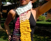 Hand Knit Scarf / Rainbow connection / OOAK / one of a kind / art yarn