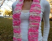 Hand Knit Scarf / Hot Pink Heaven / One of a Kind / OOAK