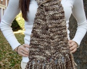 Hand Knit Scarf / Brownie bites / one of a Kind / OOAK
