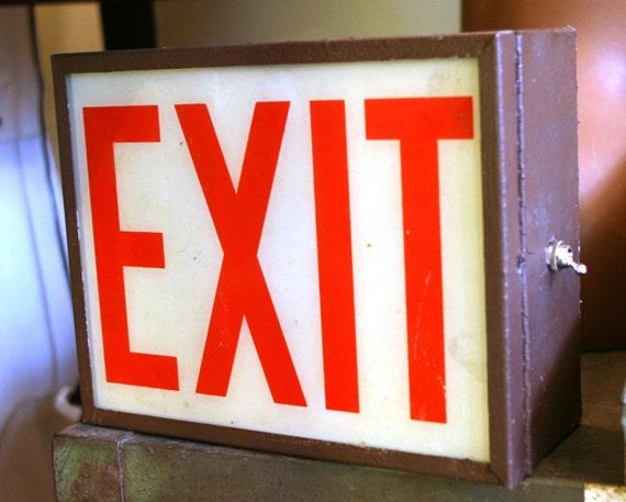 Vintage Exit Sign Lamp