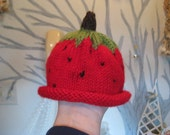 Reserved for KoozieFloozie only - Strawberry Baby Hat (0-8 months)
