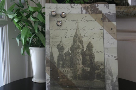 """Russia Moscow Russian Heritage St Basils Vacation travel handmade magnetic picture frame holds 5"""" x 7"""" photo 9"""" x 11"""" size"""