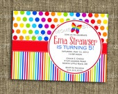 PRINTABLE INVITATION Rainbow Party Collection - Bright and Colorful Birthday Party Invitation - Memorable Moments Studio