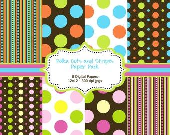 INSTANT DOWNLOAD - 8 Colorful Digital Papers - Polka Dots and Stripes - 300 DPI - 12x12 inches - Personal and Commercial Use