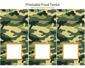 INSTANT DOWNLOAD - Printable Food Tents - Camo Army Party Collection - Memorable Moments Studio