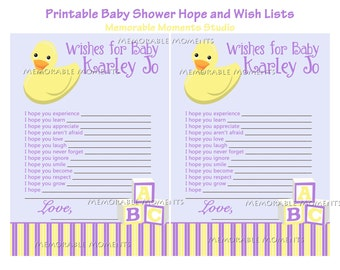 PRINTABLE WISH LIST Rubber Ducky Baby Shower Collection   Memorable Moments  Studio