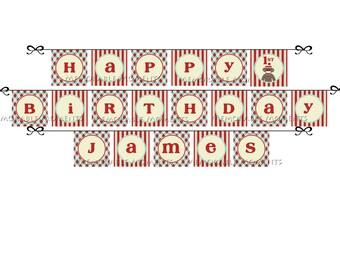 PRINTABLE BANNER Sock Monkey Collection - Happy Birthday Banner - Memorable Moments Studio