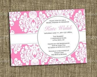 PRINTABLE INVITATIONS Pink Damask Shower Invitation - Custom Printable - Memorable Moments Studio