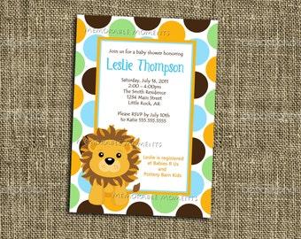 PRINTABLE INVITATION - Custom Baby Lion Shower Invitation - Memorable Moments Studio