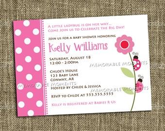 PRINTABLE INVITATIONS Pink Ladybug Invitation - Custom Printable - Memorable Moments Studio